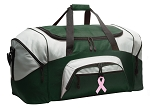 Large Pink Ribbon Duffle Bag Green