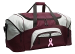 Large Pink Ribbon Duffle Bag Maroon