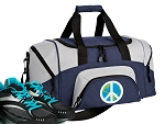 SMALL Peace Sign Gym Bag World Peace Duffle Navy
