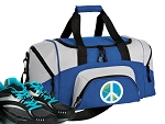 SMALL Peace Sign Gym Bag World Peace Duffle Blue