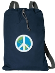 Peace Sign Cotton Drawstring Bag Backpacks RICH NAVY