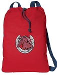 Horse Cotton Drawstring Bag Backpacks COOL RED