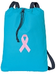 Pink Ribbon Cotton Drawstring Bag Backpacks COOL BLUE
