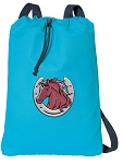 Horse Theme Cotton Drawstring Bag Backpacks COOL BLUE