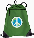 Peace Sign Drawstring Backpack Mesh and Microfiber