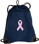 Pink Ribbon Drawstring Backpack-MESH & MICROFIBER Navy