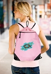 Christian Drawstring Bag Mesh and Microfiber Pink