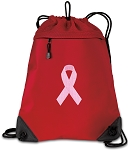 Pink Ribbon Drawstring Backpack MESH & MICROFIBER Red