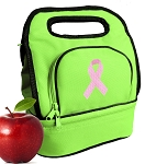 Pink Ribbon Lunch Bag 2 Section Lime