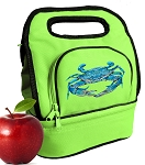 BLUE CRAB Lunch Bag 2 Section Lime