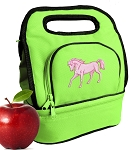 Cute Horse Lunch Bag 2 Section Lime