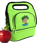 Flamingo Lunch Bag 2 Section Lime