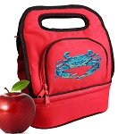 BLUE CRAB Lunch Bag 2 Section Red
