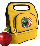 Soccer Lunch Bag 2 Section Gold