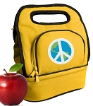 Peace Sign Lunch Bag 2 Section Gold