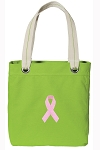 Pink Ribbon Tote Bag RICH COTTON CANVAS Green
