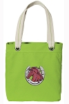 Horse Theme Tote Bag RICH COTTON CANVAS Green