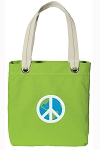 Peace Sign Tote Bag RICH COTTON CANVAS Green