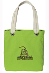 Don't Tread on Me Tote Bag RICH COTTON CANVAS Green