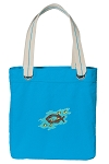 Christian Tote Bag RICH COTTON CANVAS Turquoise