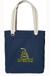 Don't Tread on Me Tote Bag RICH COTTON CANVAS Navy