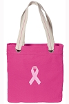 Pink Ribbon Tote Bag RICH COTTON CANVAS Pink