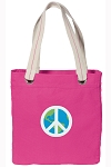 Peace Sign Tote Bag RICH COTTON CANVAS Pink