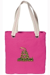 Don't Tread on Me Tote Bag RICH COTTON CANVAS Pink