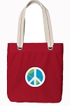 Peace Sign Tote Bag RICH COTTON CANVAS Red