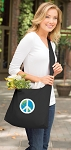 Peace Sign Tote Bag Sling Style Black