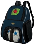 Ladybug Soccer Ball Backpack or Ladybugs Volleyball Practice Gear Bag Navy