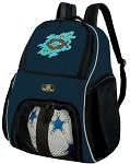 Christian Soccer Ball Backpack or Christian Theme Volleyball Practice Gear Bag Navy