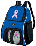 Pink Ribbon Soccer Backpack or Pink Ribbon Volleyball Practice Bag Boys or Girls Blue