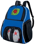 Ladybug Soccer Backpack or Ladybugs Volleyball Practice Bag Boys or Girls Blue