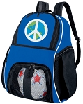 Peace Sign Soccer Backpack or World Peace Volleyball Practice Bag Boys or Girls Blue