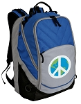 Peace Sign Deluxe Laptop Backpack Blue