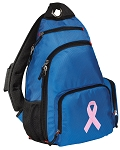 Pink Ribbon Sling Backpack Blue