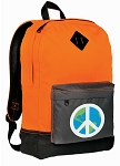 Peace Sign Backpack Classic Style Cool Orange