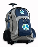 Peace Sign Rolling Backpack Navy