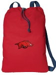 Arkansas Razorbacks Cotton Drawstring Bag Backpacks Cool RED
