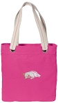 University of Arkansas Tote Bag RICH COTTON CANVAS Pink