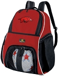 Arkansas Razorbacks Soccer Backpack or University of Arkansas Volleyball Practice Bag Red Boys or Girls