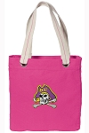 ECU Pirates Tote Bag RICH COTTON CANVAS Pink