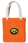 Iowa Hawkeyes Tote Bag RICH COTTON CANVAS Orange