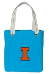 University of Illinois Tote Bag RICH COTTON CANVAS Turquoise