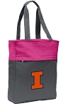 University of Illinois Tote Bag Everyday Carryall Pink