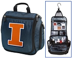 Illini Hanging Travel Toiletry Bag or University of Illinois Shaving Kit Organizer for Him Navy