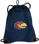 University of Kansas Drawstring Backpack-MESH & MICROFIBER Navy