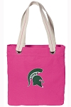 Michigan State Tote Bag RICH COTTON CANVAS Pink