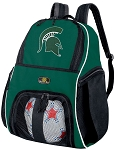 Michigan State University Soccer Backpack or Michigan State Volleyball Bag Green